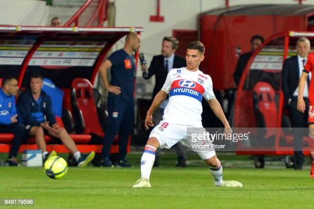 Houssem Aouar of Lyon during the Ligue 1 match between Dijon FCO and Olympique Lyonnais at Stade Gaston Gerard on April 20 2018 in Dijon