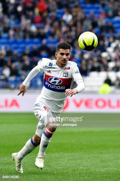 Houssem Aouar of Lyon during the Ligue 1 match between Lyon and Amiens at Parc Olympique on April 14 2018 in Lyon