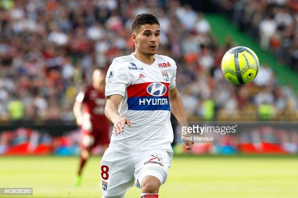 Houssem Aouar of Lyon during the Ligue 1 match between Metz and Olympique Lyonnais at on April 8 2018 in Metz