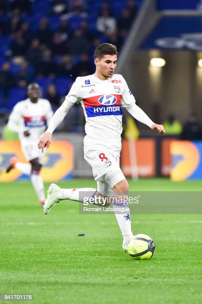 Houssem Aouar of Lyon during the Ligue 1 match between Olympique Lyonnais and Toulouse FC on April 1 2018 in Lyon France
