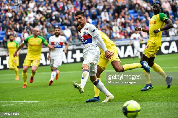 Houssem Aouar of Lyon during the Ligue 1 match between Olympique Lyonnais and Nantes at Parc Olympique on April 28 2018 in Lyon