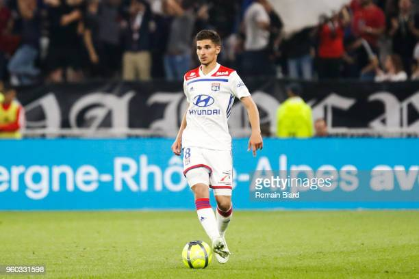 Houssem Aouar of Lyon during the Ligue 1 match between Olympique Lyonnais and OGC Nice at Parc Olympique on May 19 2018 in Lyon
