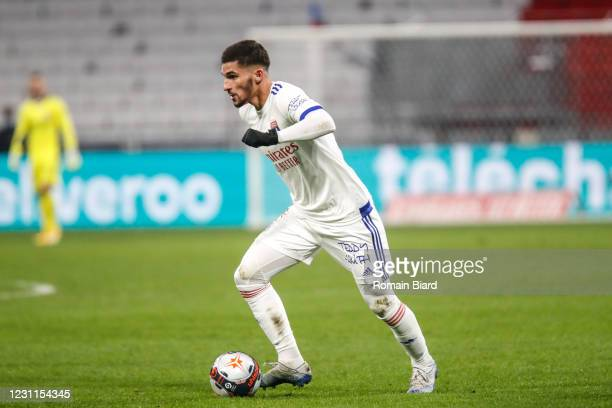 Houssem AOUAR of Lyon during the Ligue 1 match between Olympique Lyon and Montpellier HSC at Groupama Stadium on February 13, 2021 in Lyon, France.