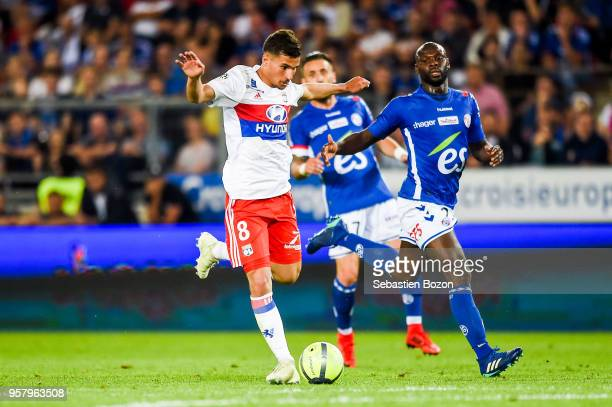 Houssem Aouar of Lyon during the Ligue 1 match between Strasbourg and Olympique Lyonnais on May 12 2018 in Strasbourg