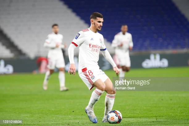 Houssem AOUAR of Lyon during the Ligue 1 soccer match between Olympique Lyonnais and Strasbourg at Groupama Stadium on February 6, 2021 in Lyon,...