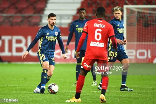 Houssem AOUAR of Lyon during the Ligue 1 soccer match between Dijon and Olympique Lyonnais at Gaston Gerard stadium on February 3, 2021 in Dijon,...