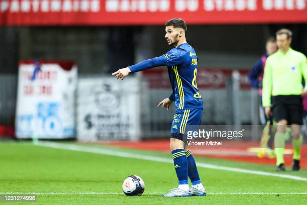 Houssem Aouar of Lyon during the Ligue 1 soccer match between Stade Brestois 29 and Olympique Lyonnais at Francis-Le Ble stadium on February 19, 2021...