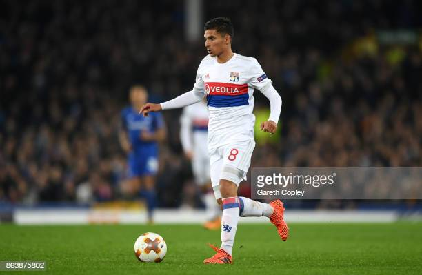 Houssem Aouar of Lyon during the UEFA Europa League group E match between Everton FC and Olympique Lyon at Goodison Park on October 19 2017 in...