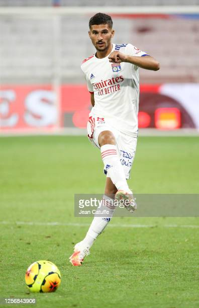 Houssem Aouar of Lyon during the Veolia Trophy friendly match between Olympique Lyonnais and Glasgow Rangers at Groupama Stadium on July 16, 2020 in...