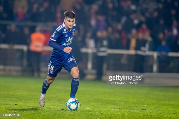 Houssem Aouar of Lyon in action during the Nimes V Lyon French Ligue 1 regular season match at Stade des Costières on December 6th 2019 Nimes France