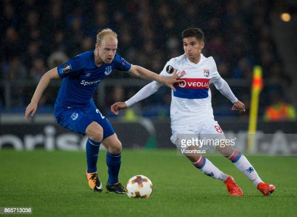 Houssem Aouar of Olympique Lyon and Davy Klaassen of Everton in action during the UEFA Europa League group E match between Everton FC and Olympique...