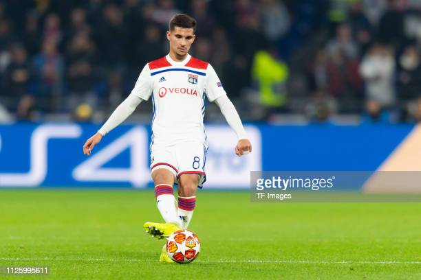 Houssem Aouar of Olympique Lyon controls the ball during the UEFA Champions League Round of 16 First Leg match between Olympique Lyonnais and FC...