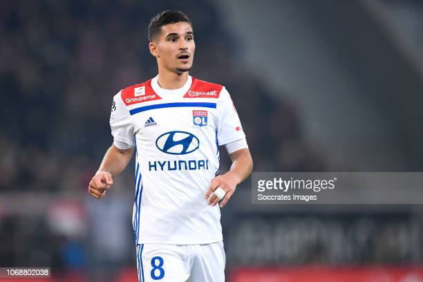 Houssem Aouar of Olympique Lyon during the French League 1 match between Lille v Olympique Lyon at the Stade Pierre Mauroy on December 1 2018 in...
