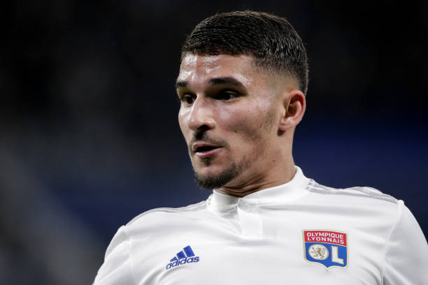 Houssem Aouar of Olympique Lyon during the UEFA Champions League match between Olympique Lyon v Juventus at the Parc Olympique Lyonnais on February...