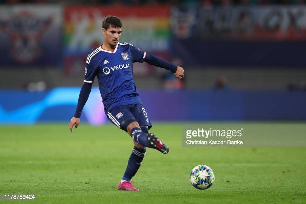 Houssem Aouar of Olympique Lyon in action during the UEFA Champions League group G match between RB Leipzig and Olympique Lyon at Red Bull Arena on...