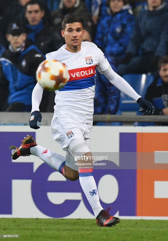 Houssem Aouar of Olympique Lyon in action during the UEFA Europa League group E match between Atalanta and Olympique Lyon at Mapei Stadium - Citta' del Tricolore on December 7, 2017 in Reggio nell'Emilia, Italy.