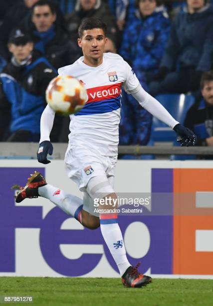 Houssem Aouar of Olympique Lyon in action during the UEFA Europa League group E match between Atalanta and Olympique Lyon at Mapei Stadium Citta' del...