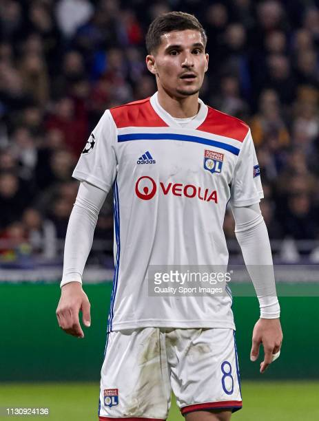 Houssem Aouar of Olympique Lyonnais looks on during the UEFA Champions League Round of 16 First Leg match between Olympique Lyonnais and FC Barcelona...