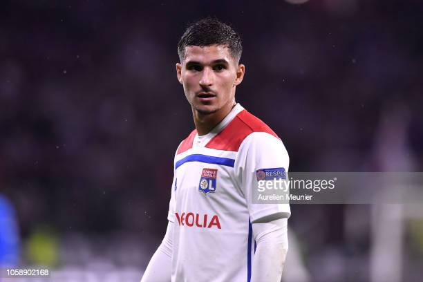 Houssem Aouar of Olympique Lyonnais reacts during the Group F match of the UEFA Champions League between Olympique Lyonnais and TSG 1899 Hoffenheim...
