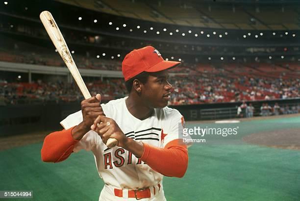 Houston Astros' 20yearold outfielder Cesar Cedeno at the Astrodome in baseball uniform