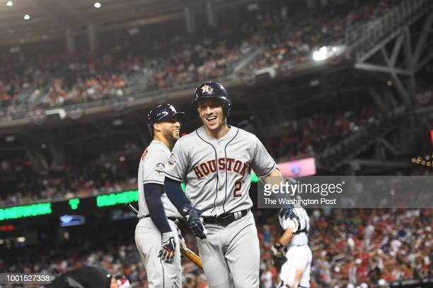 C JULY Houston Astros and the American League third baseman Alex Bregman comes across home plate after scoring a home run in the tenth inning during...