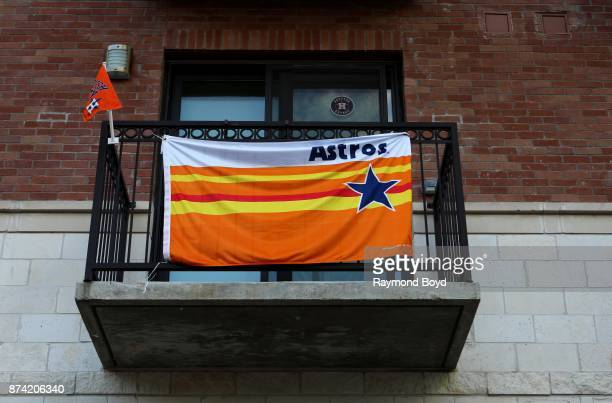 Houston Astros banner is displayed on a balcony outside Minute Maid Park home of the Houston Astros baseball team in Houston Texas on November 6 2017