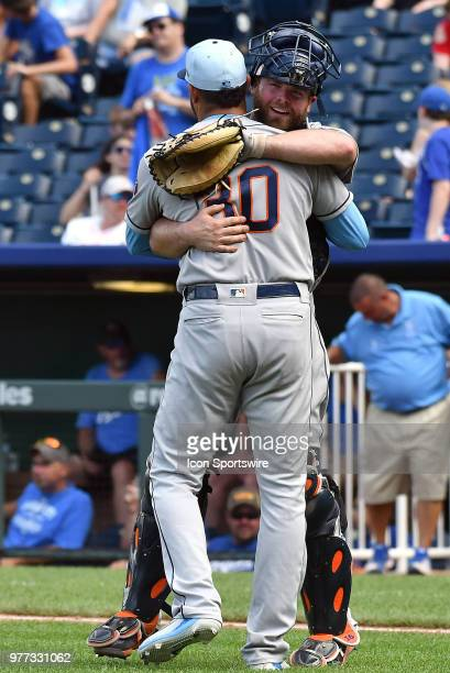 Houston Astros catcher Brian McCann hugs Houston Astros relief pitcher Hector Rondon after winning a Major League Baseball game between the Houston...
