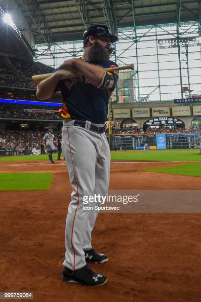 Houston Astros catcher Evan Gattis prepares to hit during the baseball game between the Detroit Tigers and the Houston Astros on July 15 2018 at...