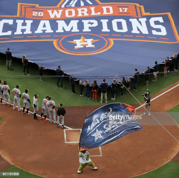 Houston Astros display a 2017 World Series Championship banner during pre-game ceremonies on Opening Day at Minute Maid Park on April 2, 2018 in...