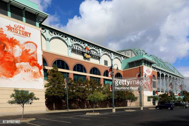 Houston Astros 'Earn History' banners hangs outside Minute Maid Park home of the Houston Astros baseball team in Houston Texas on November 4 2017