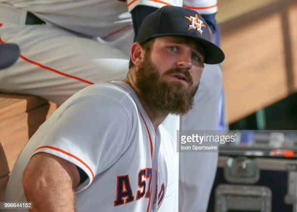 Houston Astros first baseman Tyler White relaxes in the dugout during the baseball game between the Oakland Athletics and Houston Astros on July 9...