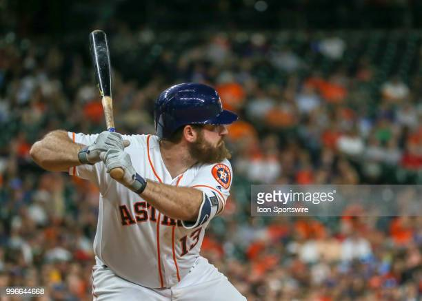 Houston Astros first baseman Tyler White watches the pitch during the baseball game between the Oakland Athletics and Houston Astros on July 9 2018...