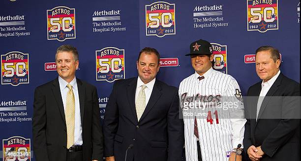 Houston Astros General Manager Jeff Luhnow, Assistant G.M. And Dir. Of Scouting Bobby Heck, right-handed pitcher Lance McCullers, who was selected in...
