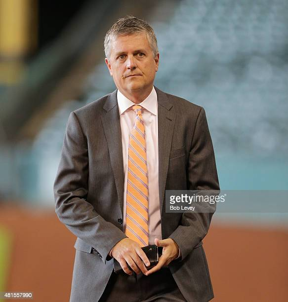 Houston Astros general manager Jeff Luhnow at Minute Maid Park on July 21 2015 in Houston Texas