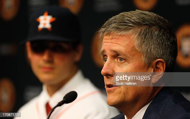 Houston Astros general manager Jeff Luhnow introduces first overall draft pick Mark Appel to the media after signingAppel to the team prior to the...