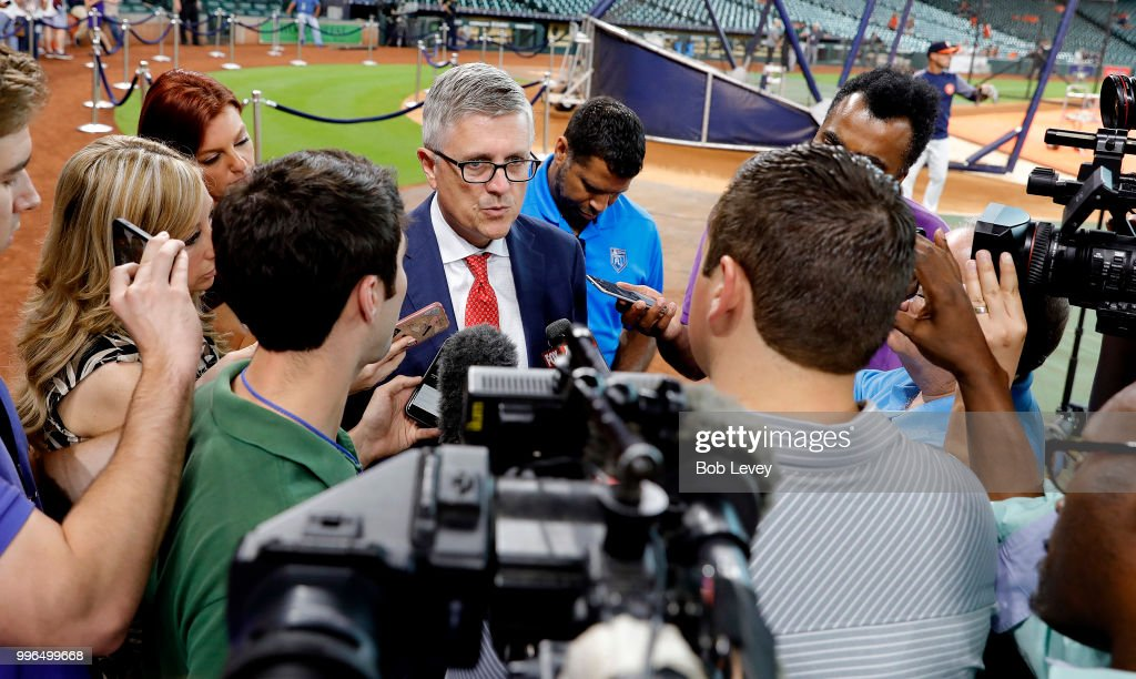 Houston Astros general manager Jeff Luhnow speaks with the media about the demotion of closer Ken Giles to Triple-A Fresno after his meltdown in the ninth inning against the Oakland Athletics on Tuesday night at Minute Maid Park on July 11, 2018 in Houston, Texas.