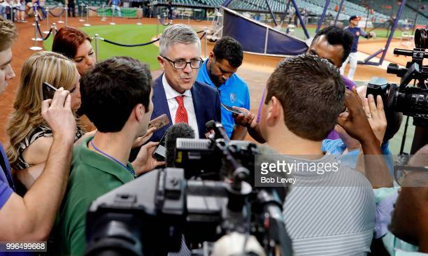 Houston Astros general manager Jeff Luhnow speaks with the media about the demotion of closer Ken Giles to TripleA Fresno after his meltdown in the...