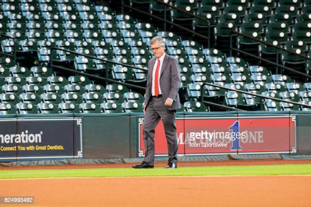 Houston Astros general manager Jeff Luhnow walks on the field during batting practice prior to a MLB game between the Houston Astros and the Tampa...