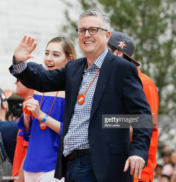Houston Astros general manager Jeff Luhnow waves to the crowd during the Houston Astros Victory Parade on November 3 2017 in Houston Texas The Astros...