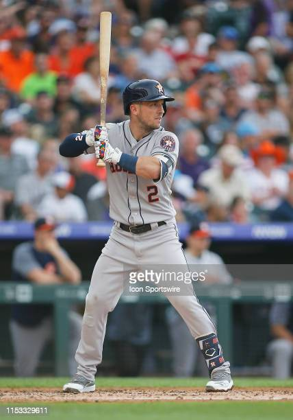 Houston Astros infielder Alex Bregman bats during a game between the Colorado Rockies and the visiting Houston Astros on July 2, 2019 at Coors Field...
