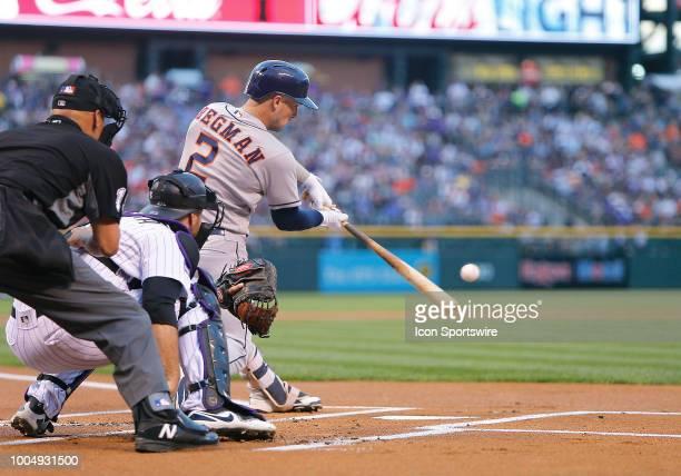 Houston Astros infielder Alex Bregman connects for a two-run homerun during the first inning of a regular season interleague MLB game between the...