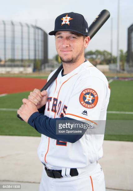 Houston Astros Infielder Alex Bregman poses for a portrait during Houston Astros Photo Day at The Ballpark of the Palm Beaches on February 19 2017 in...