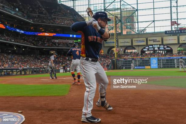 Houston Astros infielder Alex Bregman waits to hit during the baseball game between the Detroit Tigers and the Houston Astros on July 15 2018 at...