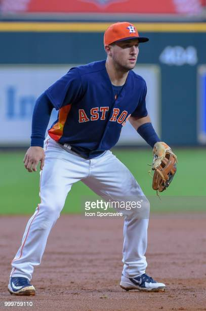 Houston Astros infielder Alex Bregman watches a pitch during the baseball game between the Detroit Tigers and the Houston Astros on July 15 2018 at...