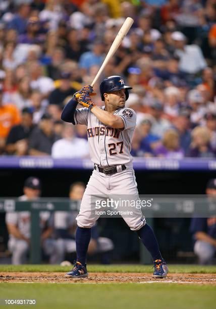 Houston Astros infielder Jose Altuve bats during a regular season interleague MLB game between the Colorado Rockies and the visiting Houston Astros...