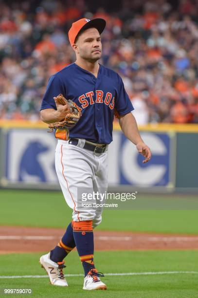 Houston Astros infielder Jose Altuve heads to the dugout during the baseball game between the Detroit Tigers and the Houston Astros on July 15 2018...