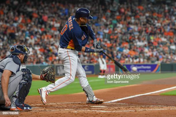 Houston Astros infielder Yuli Gurriel makes solid contact during the baseball game between the Detroit Tigers and the Houston Astros on July 15 2018...