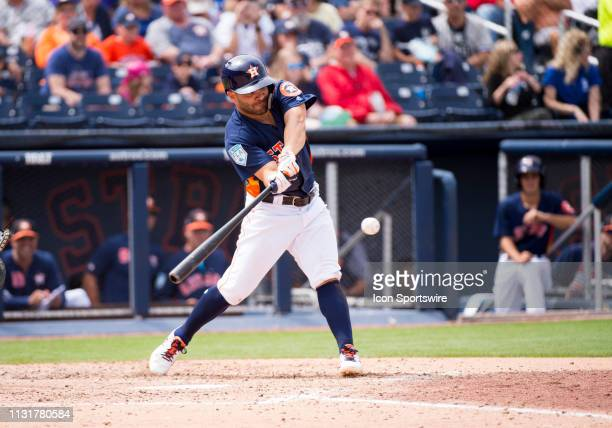 Houston Astros InfielderJose Altuve bats during an MLB spring training game between the New York Yankees and the Houston Astros at The Ballpark of...