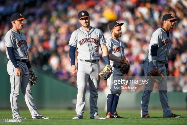 Houston Astros infielders including third baseman Alex Bregman , shortstop Myles Straw , second baseman Jose Altuve , and first baseman Yuli Gurriel...