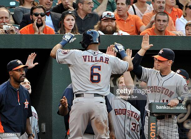 Houston Astros' Jonathan Villar is greeted by his teammates after he stole home against Baltimore Orioles' WeiYin Chen during the third inning at...